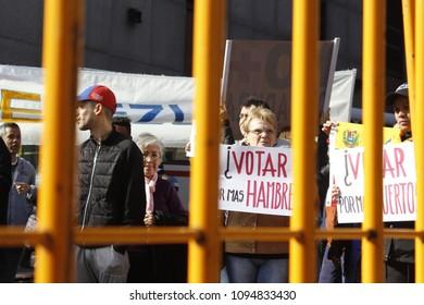 MONTEVIDEO, MAY 20 - Venezuelan demonstrators protests against the 2018 Venezuelan presidential elections in front of the Venezuelan embassy in Montevideo, Uruguay.
