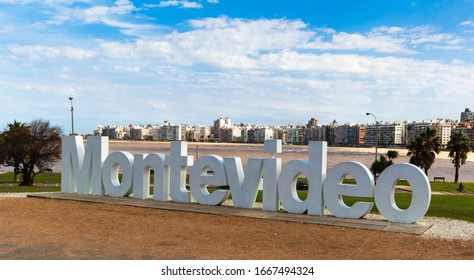 MONTEVIDEO/ URUGUAY - 07272017 - TOURISTIC SIGN NEAR TO THE BEACH