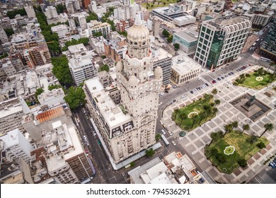 Montevideo, Uruguay, aerial view of Downtown buildings and Plaza Independencia.