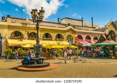 MONTEVIDEO, URUGUAY, APRIL - 2018 - Exterior view of traditional food market at ciudad vieja district in Montevideo city, Uruguay