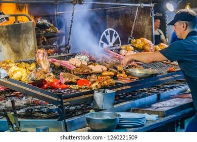 MONTEVIDEO, URUGUAY, APRIL - 2018 - Interior view of traditional food market at ciudad vieja district in Montevideo city, Uruguay