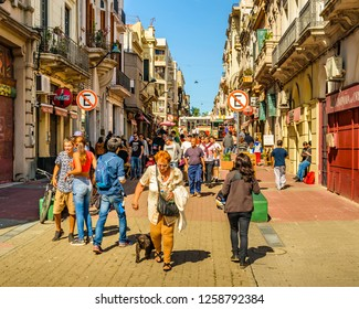 MONTEVIDEO, URUGUAY, APRIL - 2018 - Urban day scene at traditional pedestrian in ciudad vieja district in Montevideo city, Uruguay