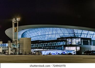 MONTEVIDEO, URUGUAY, DECEMBER - 2016 - Night scene modern airport building at Montevideo city, Uruguay