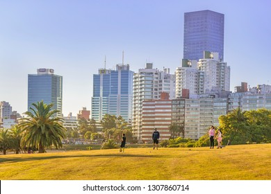 MONTEVIDEO, URUGUAY, DECEMBER - 2018 - Waterfront modern buildings coastal summer day scene at montevideo city, Uruguay