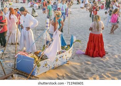 MONTEVIDEO, URUGUAY, FEBRAURY - 2016 - Crowded beach at iemanja worship celebration in Montevideo city, Uruguay