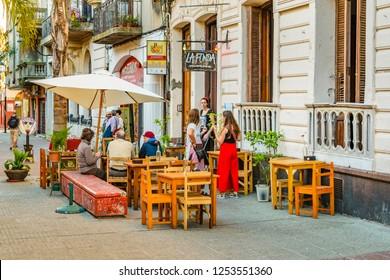 MONTEVIDEO, URUGUAY, FEBRAURY - 2018 - Rustic style bar at ciudad vieja district in Montevideo city, Uruguay