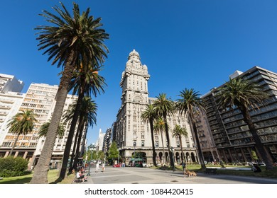 MONTEVIDEO, URUGUAY - FEBRUARY 03,, 2018: Palacio Salvo in the center of the city of Montevideo, Uruguay.