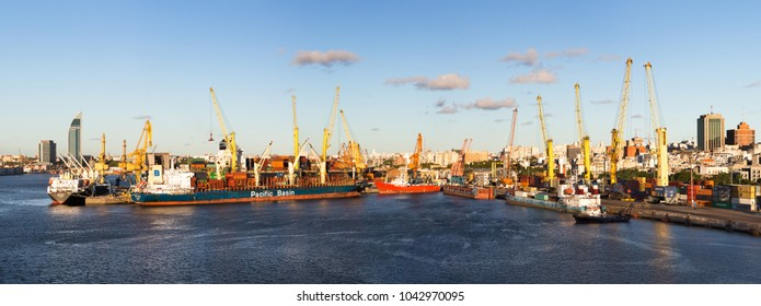 Montevideo, Uruguay - February 25th, 2018: Panoramic view of the Port of Montevideo in Uruguay, South America.