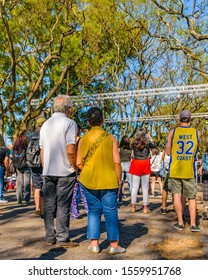 MONTEVIDEO, URUGUAY, NOVEMBER - 2019 - Crowd watching a public concert at sunny sunday spring day at parque rodo park in montevideo city, uruguay