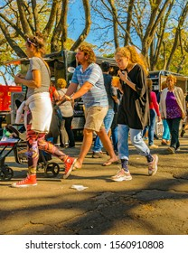 MONTEVIDEO, URUGUAY, NOVEMBER - 2019 - Crowd enjoying a sunny sunday spring day at parque rodo park in montevideo city, uruguay