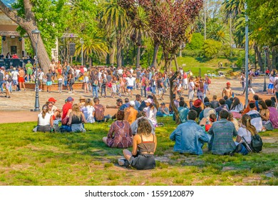 MONTEVIDEO, URUGUAY, NOVEMBER - 2019 - People at electronic music festival at outdoor party, montevideo city, uruguay