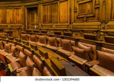 MONTEVIDEO, URUGUAY, OCTOBER - 2018 - Empty chamber of deputies at legislative palace of uruguay.