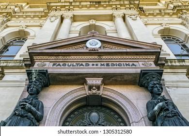 MONTEVIDEO, URUGUAY, OCTOBER - 2018 - Low angle shot neoclassical style facade of public medicine university of Uruguay