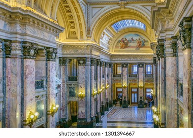 MONTEVIDEO, URUGUAY, OCTOBER - 2018 - Neoclassical style interior hall detail of legislative power palace of uruguay.