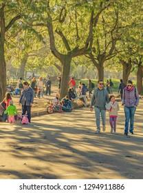 MONTEVIDEO, URUGUAY, SEPTEMBER - 2018 - People enjoying at spring sunny day at urban park in montevideo city, Uruguay