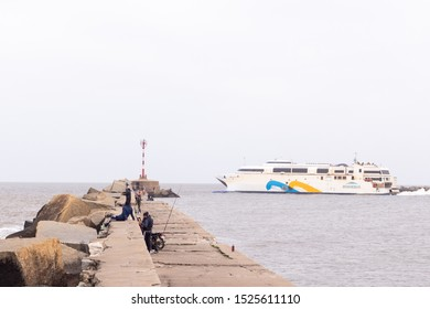 MONTEVIDEO, URUGUAY - SEPTEMBER 2019: Buquebus ferry leaving Montevideo towards Buenos Aires