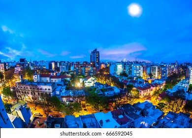 MONTEVIDEO, URUGUAY - SEPTEMBER 3: Aerial view of the city at night on September 9, 2015 in Montevideo, Uruguay.