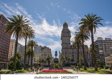Montevideo/Uruguay - January 12 2019: Independencia Square with a few tourists.