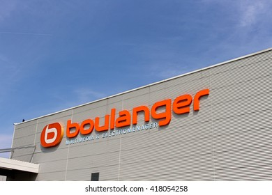 MONTEVRAIN, FRANCE - MAY 8, 2016: Boulanger sign. Boulanger is a French brand specializing in leisure, multimedia and household appliances.