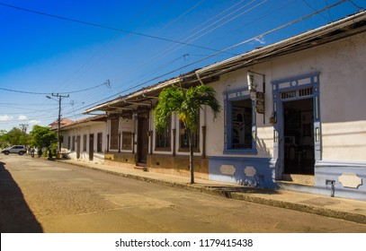 Montezuma, Costa Rica - June 28, 2018: Outdoor view of house buildings located in the town of Montezuma in gorgeus sunny day in Costa Rica