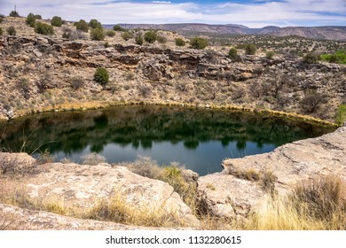 Montezuma Well, a detached unit of Montezuma Castle National Monument, is a natural limestone sinkhole near the town of Rimrock, Arizona,