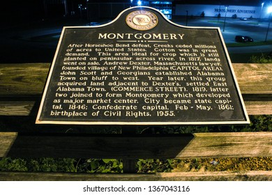 Montgomery, AL - CIRCA 2019: City of Montgomery historical marker sign downtown at night