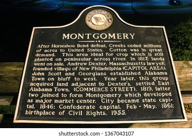 Montgomery, AL - CIRCA 2019: Closeup of city of Montgomery historical marker sign downtown at night