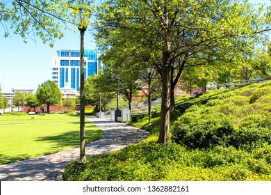 Montgomery, AL - CIRCA 2019: RSA Tower Park across from the RSA Tower on Monroe St. in Downtown Montgomery, AL
