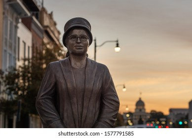 MONTGOMERY, AL - DECEMBER 3, 2019: A recently unveiled statue of civil rights icon Rosa Parks is seen at sunrise.
