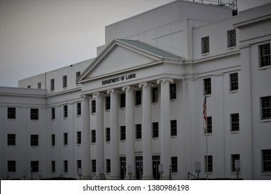 Montgomery, AL / United States - April 14 2019: The department of labor in Montgomery with its large architectural columns
