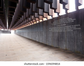 MONTGOMERY, AL, USA - FEBRUARY 4, 2019: A view of The National Memorial for Peace and Justice, a memorial for the victims of lynching in Montgomery, Alabama on February 4, 2019.