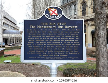 MONTGOMERY, AL, USA - FEBRUARY 4, 2019: A sign marking the location of Rosa Parks' bus stop in Montgomery, Alabama on February 4, 2019. Rosa Parks was an American civil rights activist.