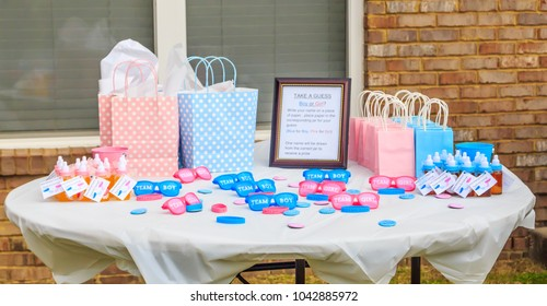 MONTGOMERY, ALABAMA - 10 MARCH, 2018:  Pink and Blue, Outdoor Gender Reveal Party Decorations: Pink and blue, girl or boy, outdoor gender reveal party decoration and party favorites.