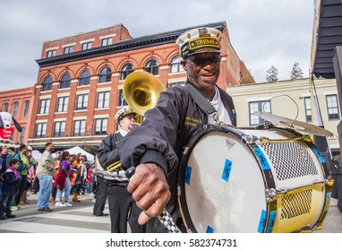MONTGOMERY, ALABAMA - 18 FEBRUARY, 2017:  Famous New Orleans Jazz Band TREME guest performs at free a Mardi Gras block party hosted by the Montgomery Downtown Business Association.