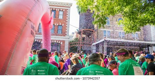MONTGOMERY, ALABAMA- APRIL 21, 2018: Joy to Life, Walk of Life for Breast Cancer: Montgomery annual Joy of Life, Walk to Life for Breast Cancer kickoff in downtown Montgomery, Alabama.