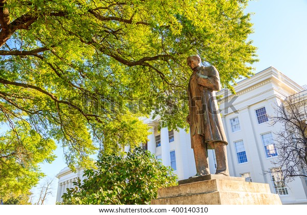 MONTGOMERY, ALABAMA - APRIL 3, 2016: Statue of James Marion Sims, Father of Modern Gynecology.  He discovered treatment for vesicovaginal fistula.  Display is in front of the Alabama State Capitol.
