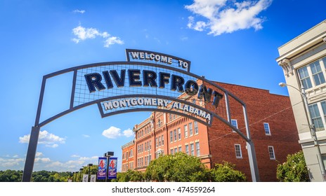 MONTGOMERY, ALABAMA - AUGUST 27, 2016: Montgomery, Alabama Riverfront Arch Sign: A picture of the Montgomery, Alabama Riverfront welcome sign located downtown and the tunnel entrance inbound.
