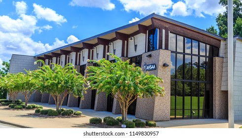 MONTGOMERY, ALABAMA - AUGUST 5, 2018:  Alabama High School Athletic Association:  Front facade of Alabama House School Athletic Association building located in Halcyon Summit, Montgomery, Alabama.