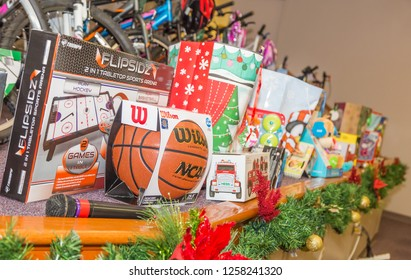 MONTGOMERY, ALABAMA - DECEMBER 13, 2018:  Local Church Charity Toy Drive:  Local church amasses hundreds of toys as part of a charity toy drive for needy children of Montgomery, Alabama.