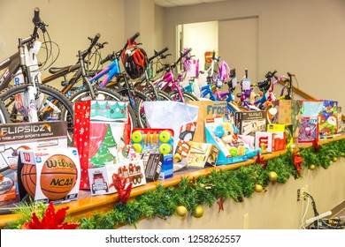 MONTGOMERY, ALABAMA - DECEMBER 13, 2018:  Local Church Charity Toy Drive:  Local church amasses hundreds of toys as part of a charity toy drive for needy children of Montgomery,