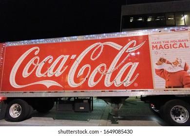 Montgomery, Alabama: December 19, 2019:  A Coca-Cola truck in the city of Montgomery, Alabama.  Coca-Cola is a multinational corporation.