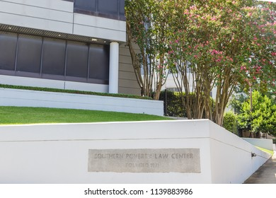 MONTGOMERY, ALABAMA - JULY 22, 2019:  Southern Poverty Law Center:  Cornerstone of the controversial and newsworthy Southern Poverty Law Center in downtown Montgomery, Alabama.