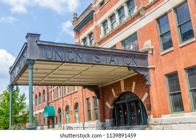 MONTGOMERY, ALABAMA - JULY 22, 2019:  Entrance to Union Station:  Historic former train station in Montgomery, Alabama. Built in 1898 by the Louisville and Nashville Railroad.
