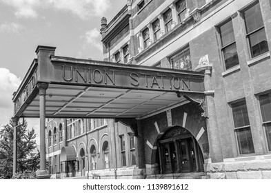 MONTGOMERY, ALABAMA - JULY 22, 2019:  Entrance to Union Station Black and White:  Historic former train station in Montgomery, Alabama. Built in 1898 by the Louisville and Nashville Railroad.