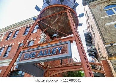 MONTGOMERY, ALABAMA - JULY 22, 2019:  Downtown Montgomery, Alabama, The Alley:   Entrance way to The Alley, all popular and ever growing hot spot area in downtown Montgomery, Alabama.