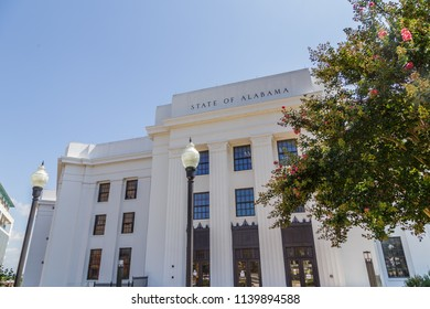 MONTGOMERY, ALABAMA - JULY 22, 2019:  Downtown Montgomery, State of Alabama Building South West Facade:  State of Alabama Building southwest facade located in downtown Montgomery, Alabama.