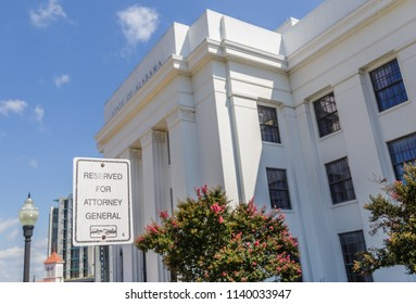 MONTGOMERY, ALABAMA - JULY 22, 2019: State of Alabama Building:  State of Alabama building southwest entrance and facade located in downtown Montgomery, Alabama.  Attorney General reserved parking.