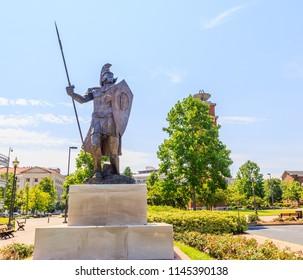 MONTGOMERY, ALABAMA - JULY 29, 2018:  Troy University Montgomery Trojan Soldier Statue:  Famed Trojan Soldier statue on the Montgomery, Alabama campus of Troy University.