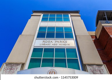 MONTGOMERY, ALABAMA - JULY 29, 2018:  Rosa Parks Library and Museum:   Front facade of Rosa Parks Library and Museum Children`s Wing located in downtown Montgomery, Alabama with a blue sky backdrop.
