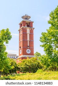 MONTGOMERY, ALABAMA - JULY 29, 2018:  Troy University Montgomery Torch Tower:  Famed Troy University Montgomery Torch Tower in Curry Commons in downtown Montgomery, Alabama.